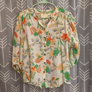 Maeve for Anthropologie printed blouse
